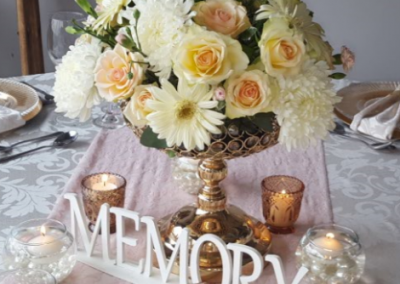 Gold Vase with Flowers office