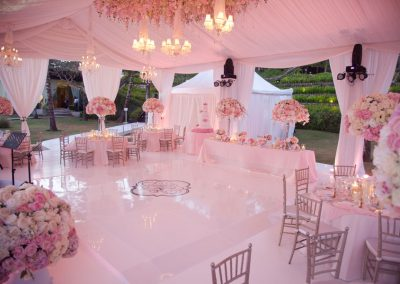 wedding marquee with pink lighting